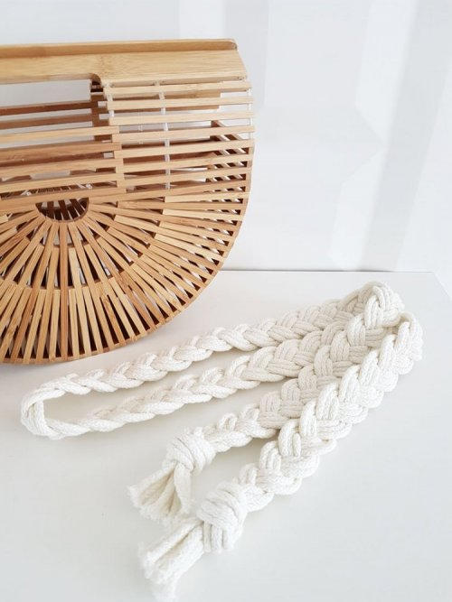 Pleciony sznur- beżowy warkocz