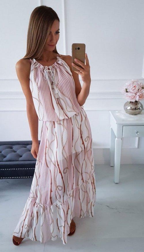 Sukienka ROMA biała we wzory