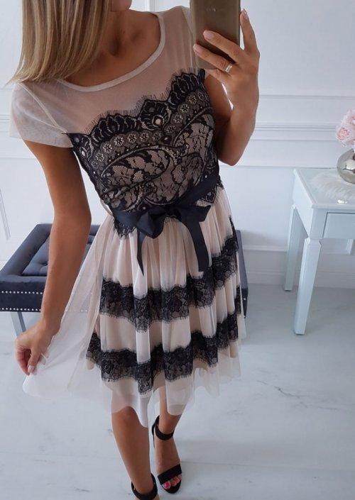 Sukienka PILARO beżowa z czarną koronką