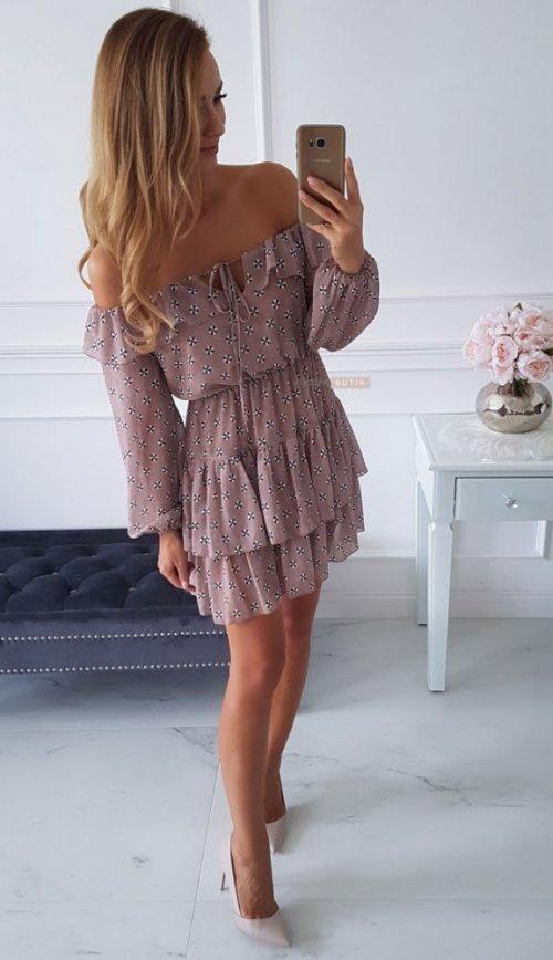 Sukienka ISABELLA mocca we wzory
