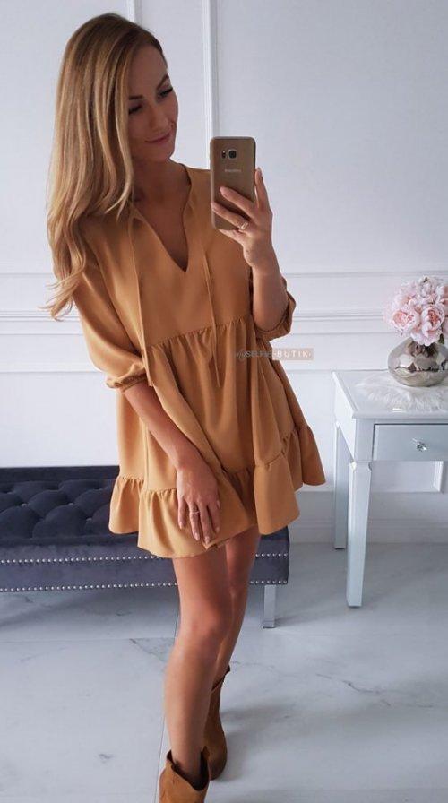 Sukienka ANTALYA musztardowa