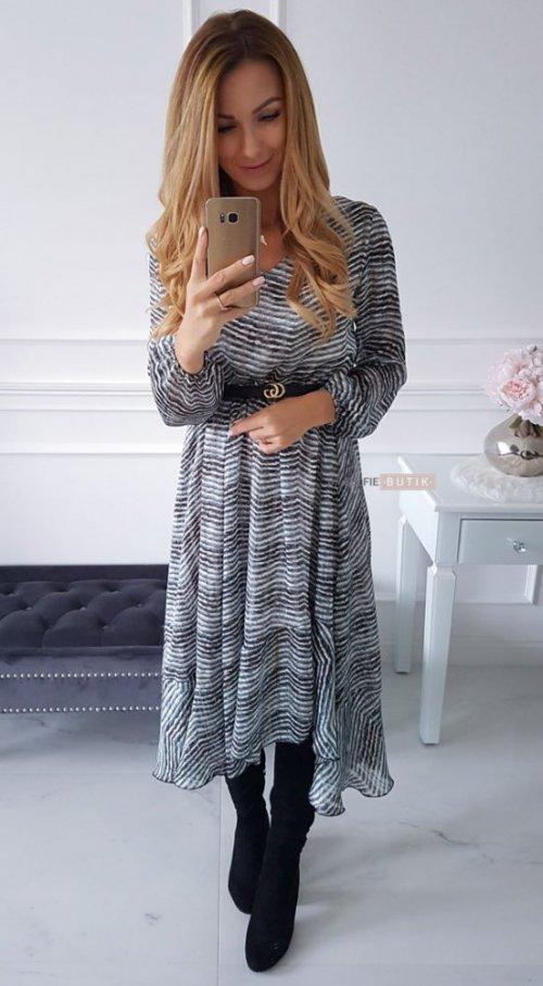 Sukienka AUGUST w turkusowo czarny zygzak