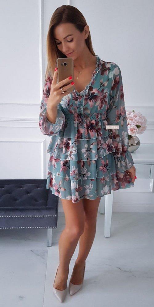 Sukienka LAURA miętowa w kwiatowy wzór