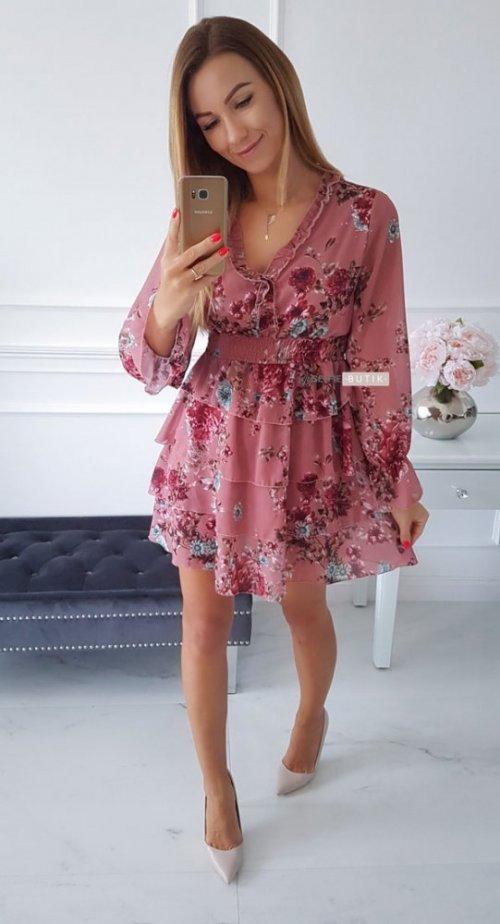 Sukienka LAURA różowa w kwiatowy wzór