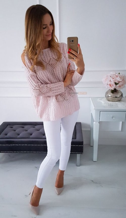 Sweter EMILY pudrowy