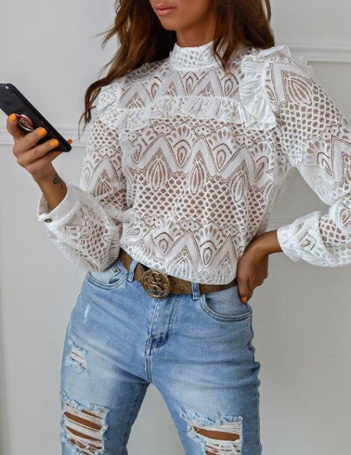 Bluzka BRIDGET white lace