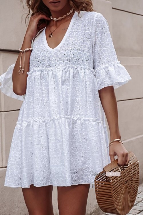 Sukienka AMEL biała ażurowa