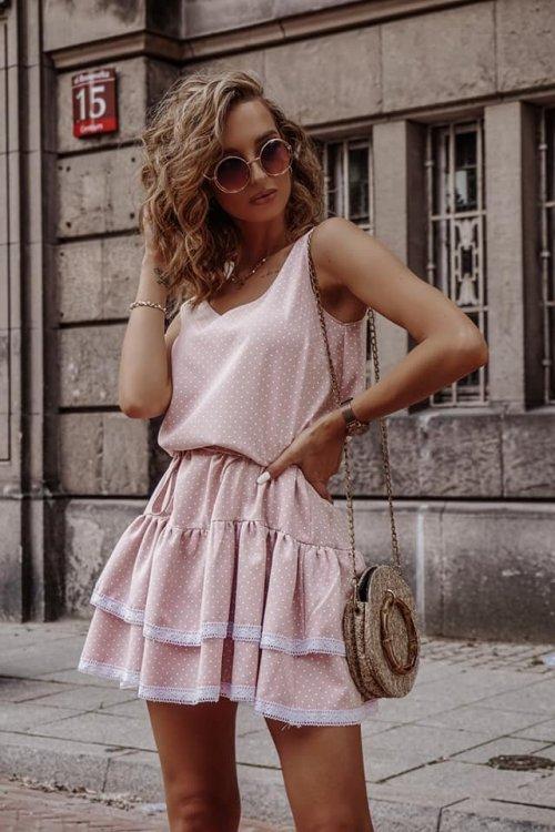 Sukienka KAYA pudrowa w kropeczki