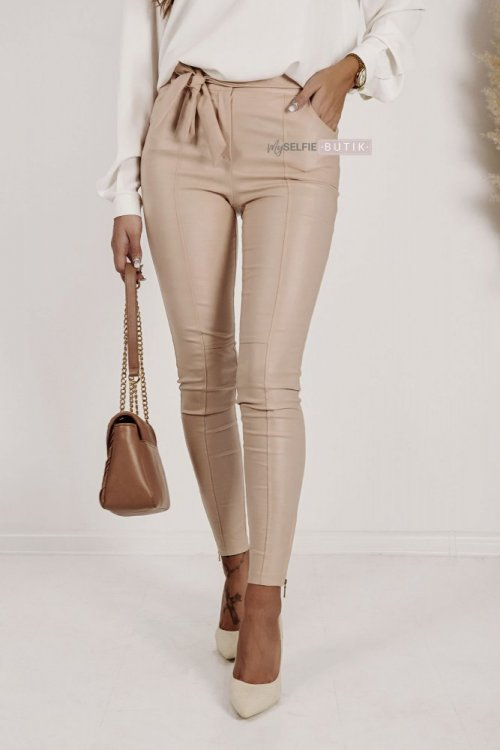 Spodnie ZARAH woskowane beżowe