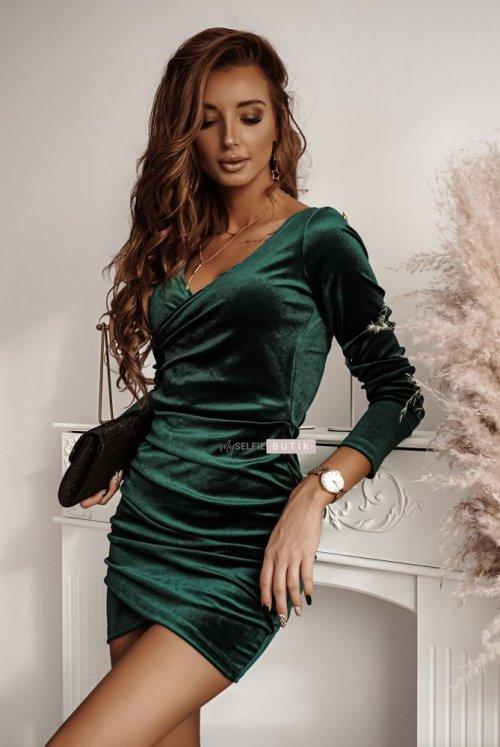 Sukienka SHINE zieleń butelkowa