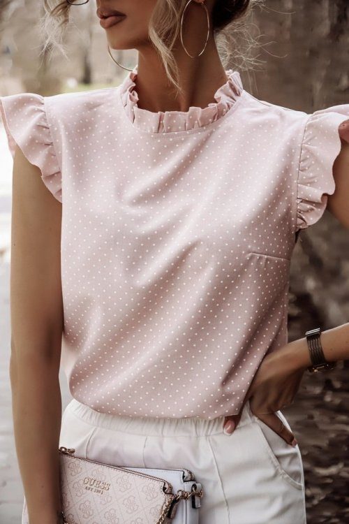 Koszula LILU różowa w kropeczki