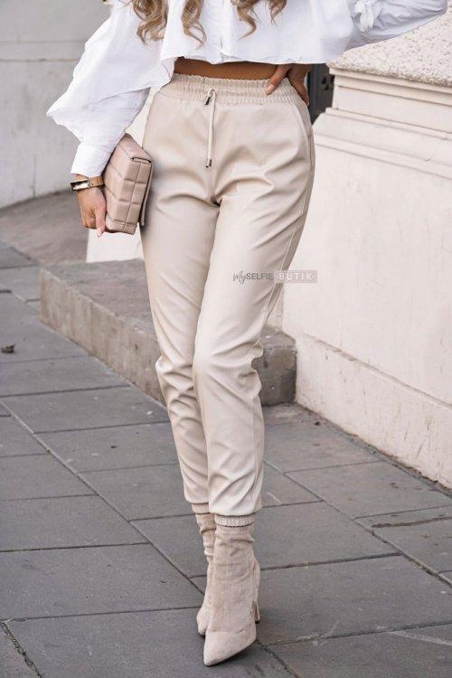 Jasnobeżowe skórzane spodnie COUTURE