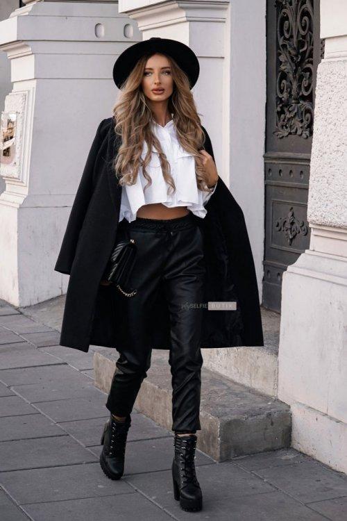 Czarne skórzane spodnie COUTURE