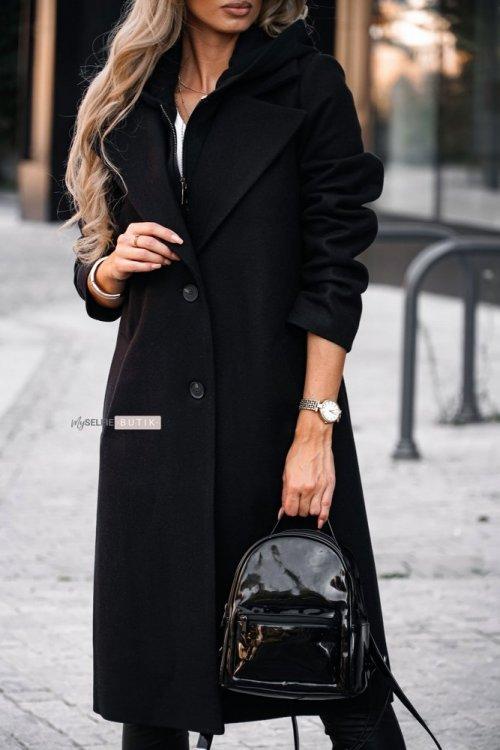 Płaszcz z kapturem NEW YORK czarny