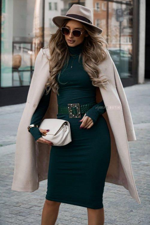 Sukienka z golfem ALESSIA zieleń butelkowa