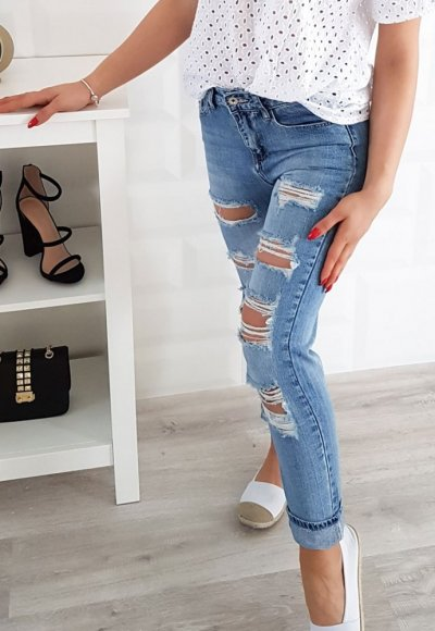 Spodnie boyfriend BLANS niebieski jeans