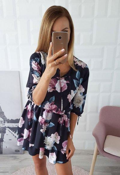 Sukienka FLOWERS czarna