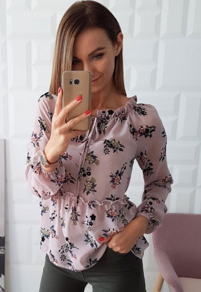 Bluzka FLOWERS pudrowa