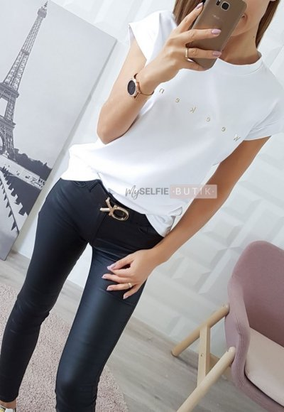 T-shirt WEEKEND biały +złoty napis