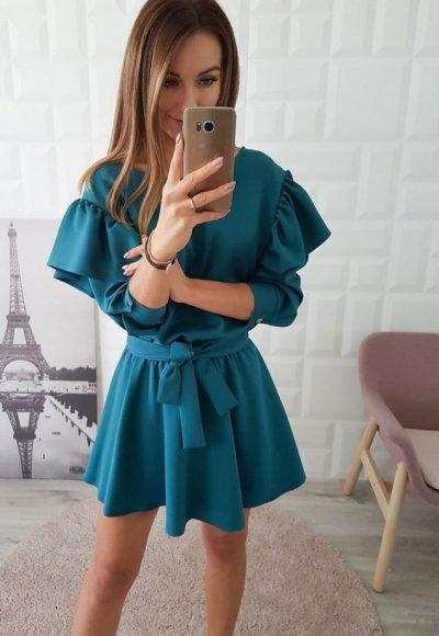 Sukienka PARISIEN zieleń butelkowa