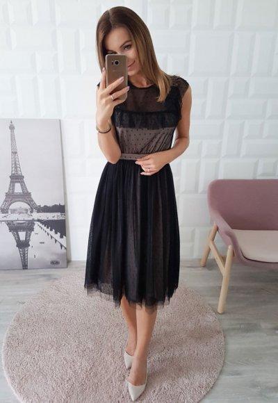 Sukienka MELODY czarno beżowa