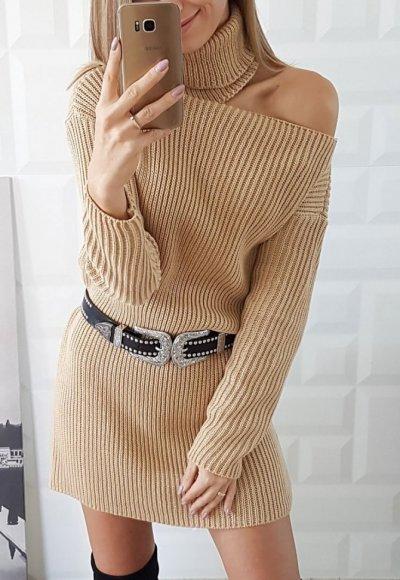 Sukienka swetrowa NOEL piaskowy beż