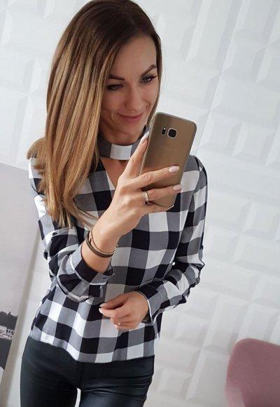 Koszula CHOKER w biało czarną kratkę