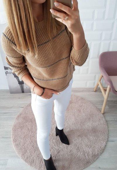 Sweter w paski STRIPES beżowy