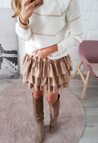 Sweter w paski STRIPES ecru