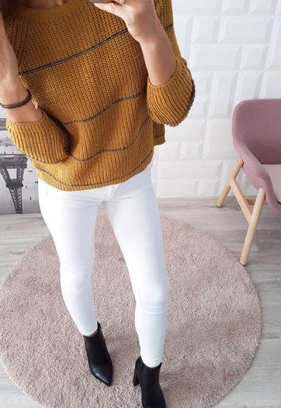Sweter w paski STRIPES musztardowy