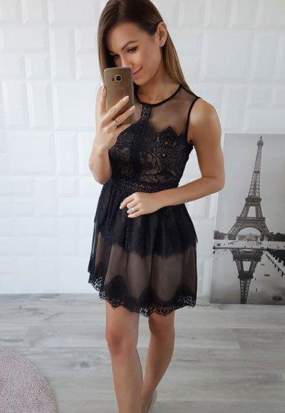 Sukienka LILAT czarno beżowa