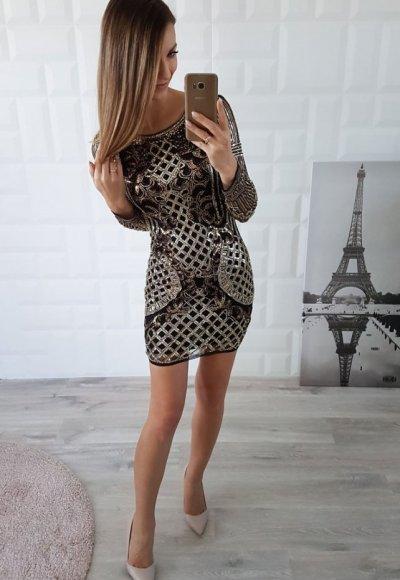 Sukienka PERSEA czarno złota