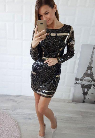 Sukienka GOLD MIRROR czarno złota