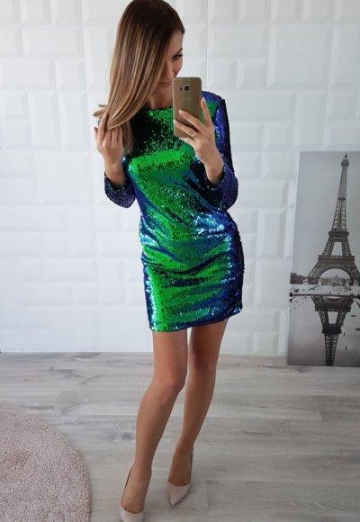 Sukienka CAMELEO cekiny niebiesko zielone