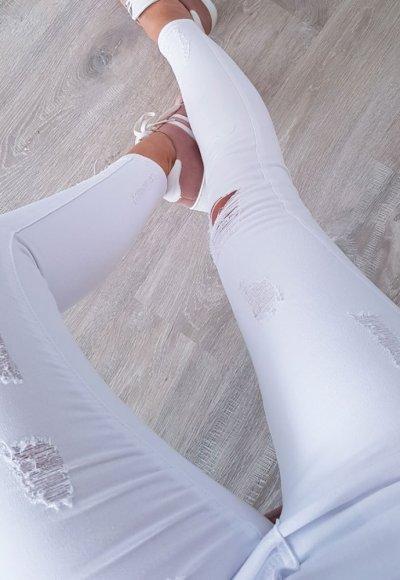 Spodnie SLIM HOLES białe