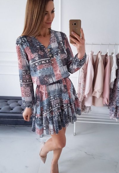 Sukienka ABBI niebieska w geometryczny wzór