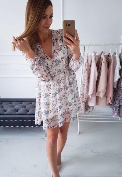 Sukienka LOTTA biała w niebieskie kwiatuszki