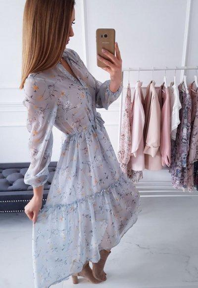 Sukienka SUMMER błękitna w kwiaty