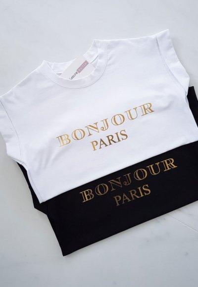 T-shirt BONJOUR biały+złoty napis