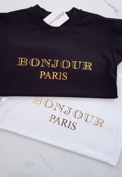 T-shirt BONJOUR czarny+złoty napis