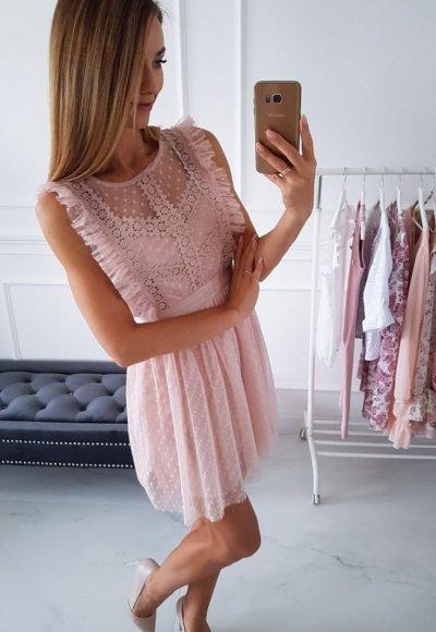 Sukienka LILAT pudrowa