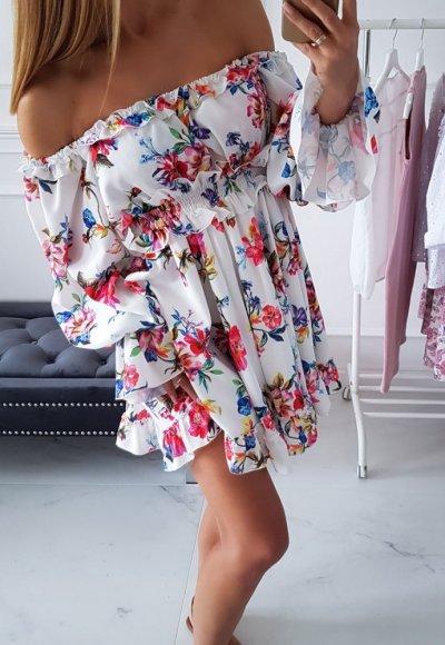 Sukienka hiszpanka MELISSA biała w kwiaty