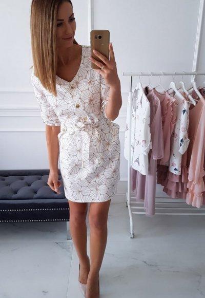 Sukienka GEORGIA biała w geometrycze wzory