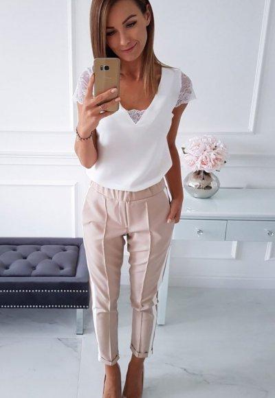 Bluzka LARA biała z koronką 2