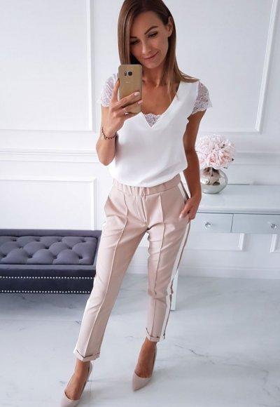 Bluzka LARA biała z koronką 3