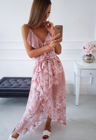 Sukienka ROSE pudrowa w kwiaty