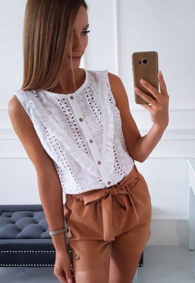 Koszula LETI biała ażurowa
