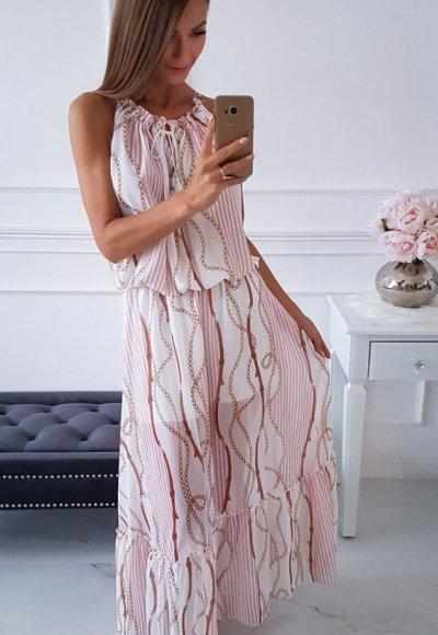 Sukienka ROMA biała we wzory 1