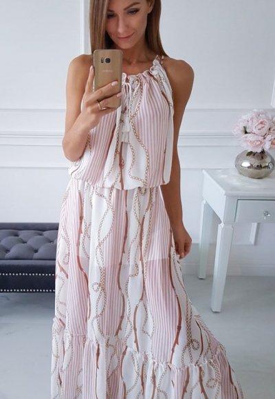Sukienka ROMA biała we wzory 2