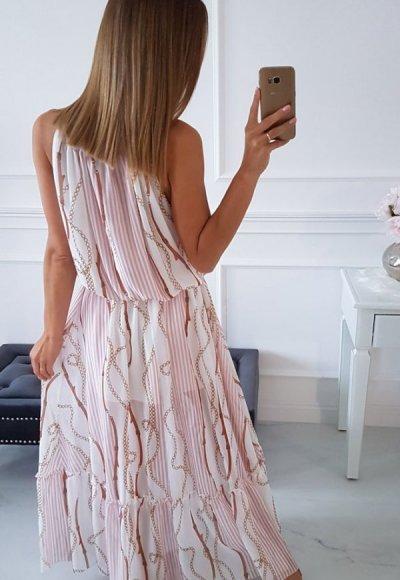 Sukienka ROMA biała we wzory 3